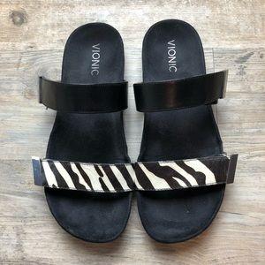 Vionic black calf hair animal double strap sandals